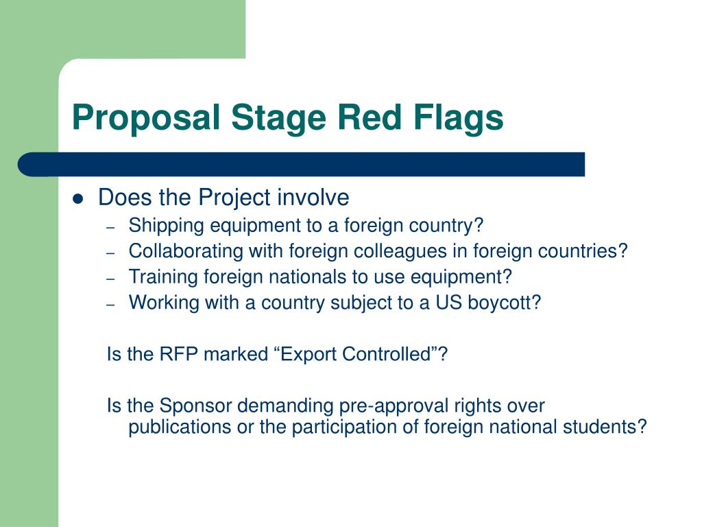 Proposal Stage Red Flags