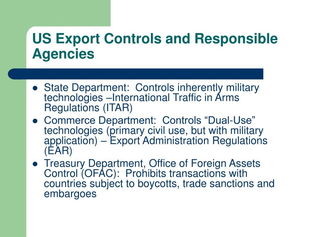 US Export Controls and Responsible Agencies