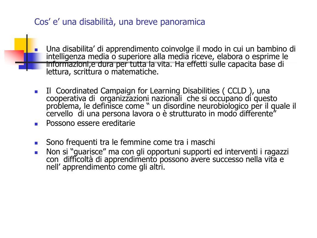 Cos' e' una disabilità, una breve panoramica