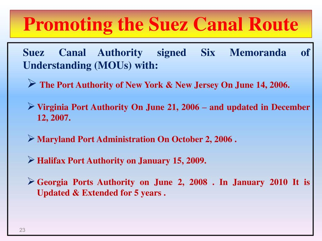 Promoting the Suez Canal Route
