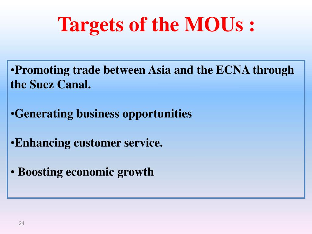 Targets of the MOUs :