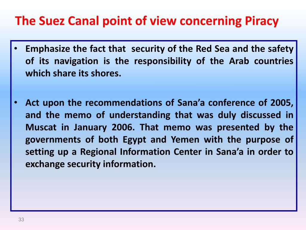 The Suez Canal point of view concerning Piracy