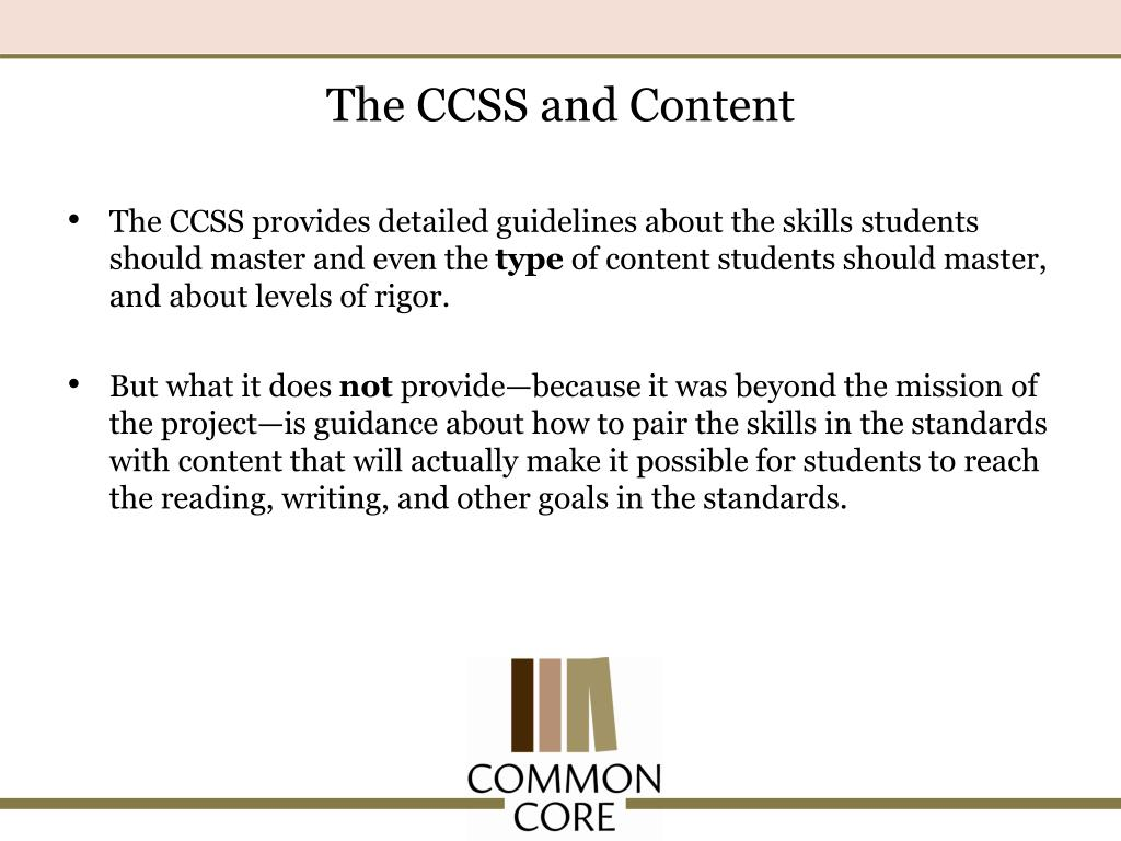 The CCSS and Content