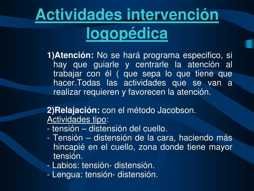 Actividades intervención logopédica