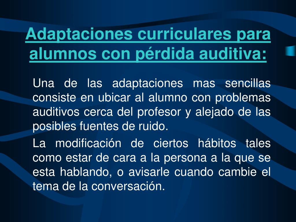 Adaptaciones curriculares para alumnos con pérdida auditiva: