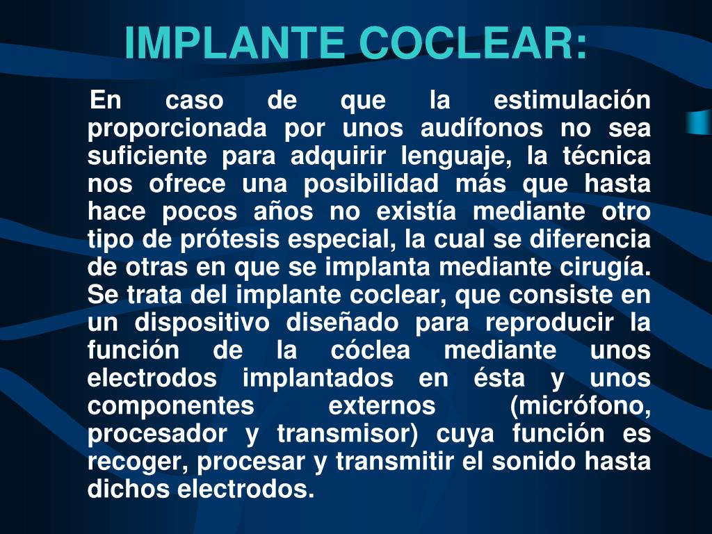 IMPLANTE COCLEAR: