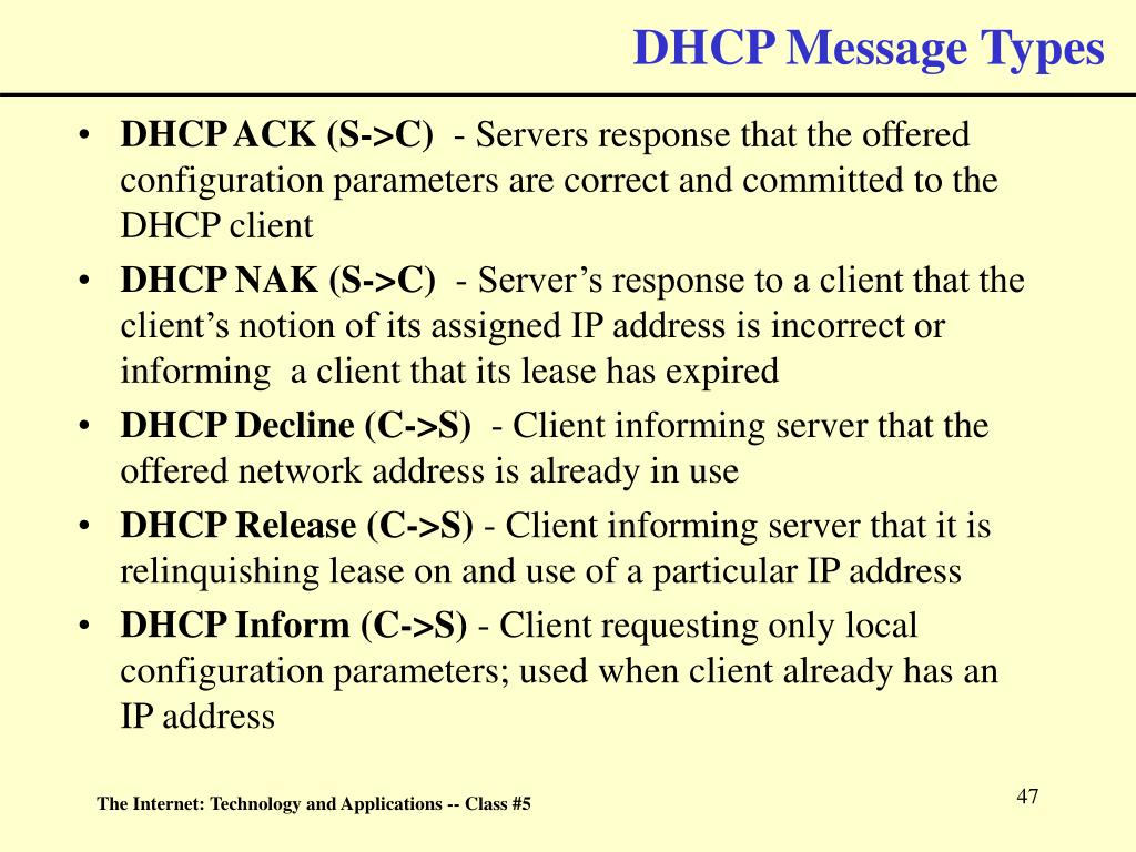 DHCP Message Types