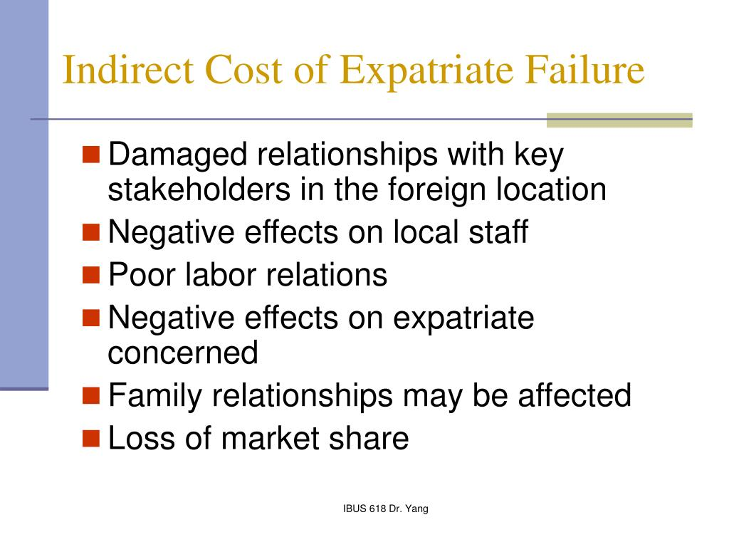 expatriate failure Reducing expatriate failure hugh mccabe westchester community college  new york abstract the failure rate of american executives placed hi overseas.