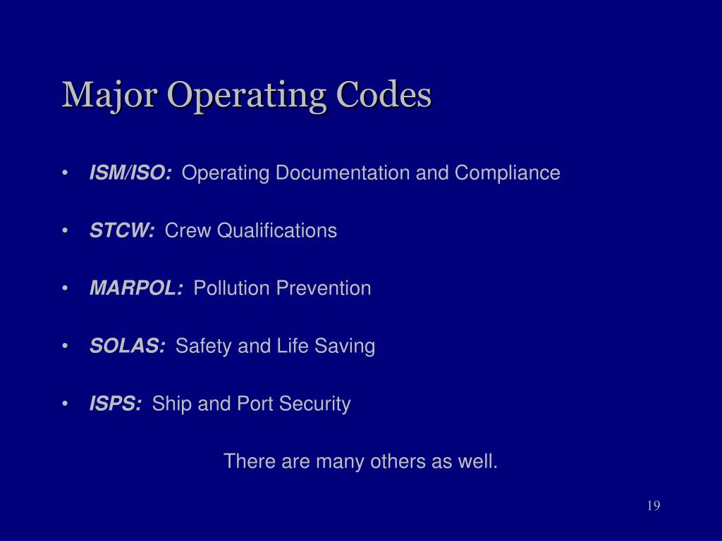Major Operating Codes