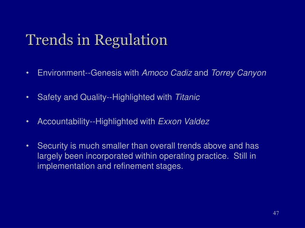 Trends in Regulation
