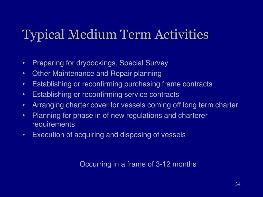 Typical Medium Term Activities