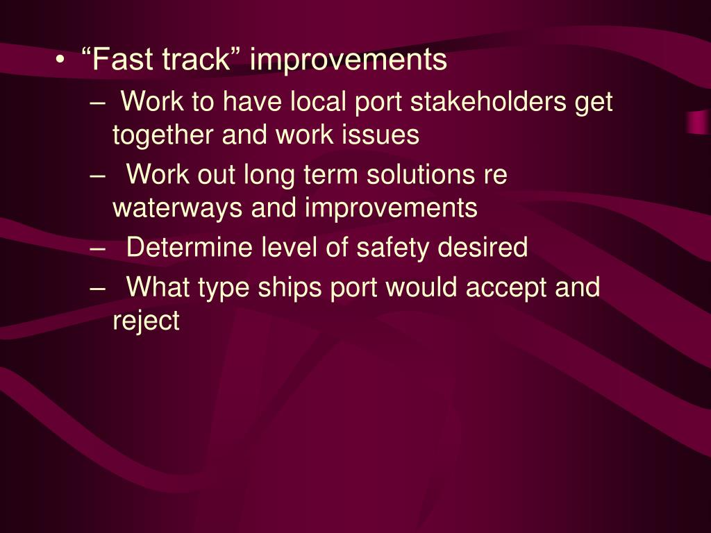 """Fast track"" improvements"