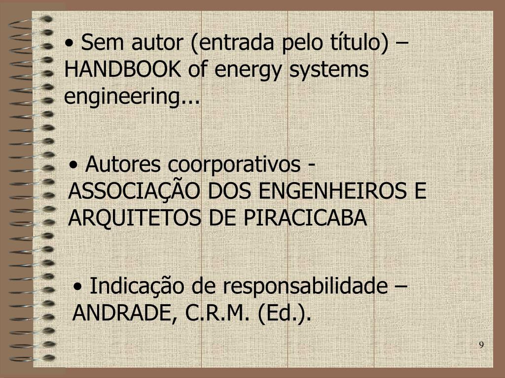 Sem autor (entrada pelo título) – HANDBOOK of energy systems engineering...