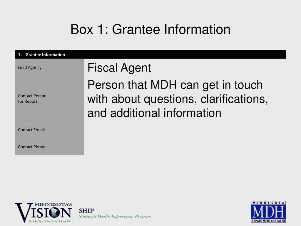 Box 1: Grantee Information