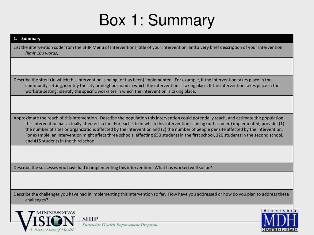 Box 1: Summary