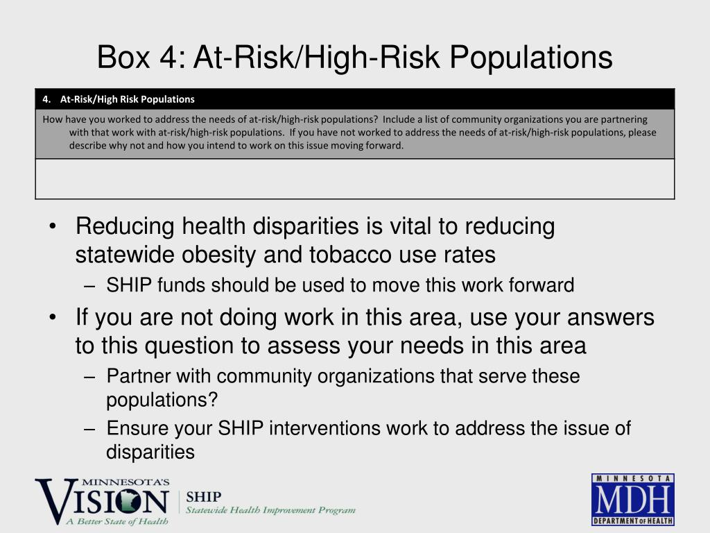 Box 4: At-Risk/High-Risk Populations