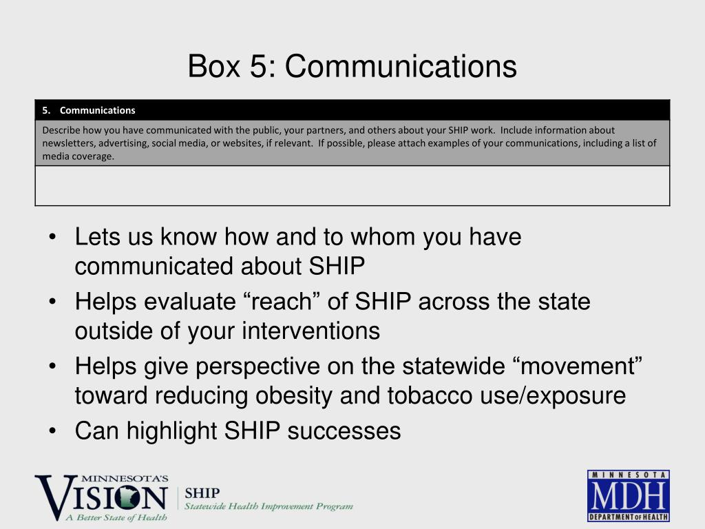 Box 5: Communications
