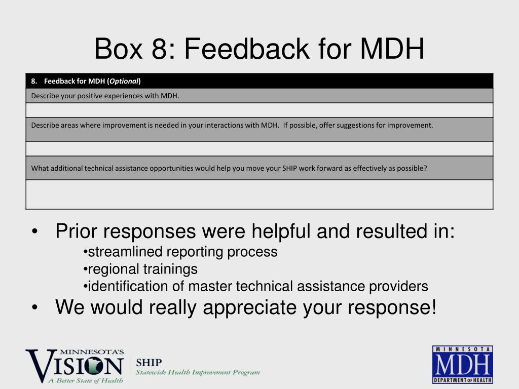 Box 8: Feedback for MDH