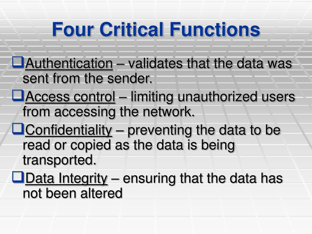 Four Critical Functions