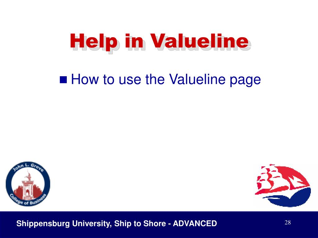 Help in Valueline