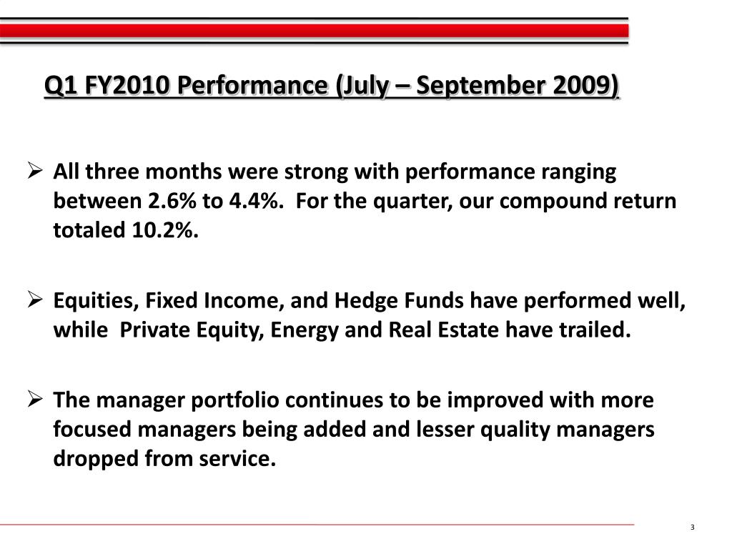 Q1 FY2010 Performance (July – September 2009)