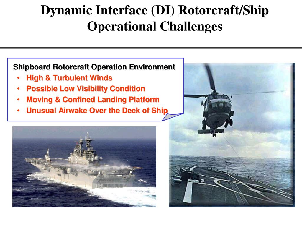 Dynamic Interface (DI) Rotorcraft/Ship Operational Challenges