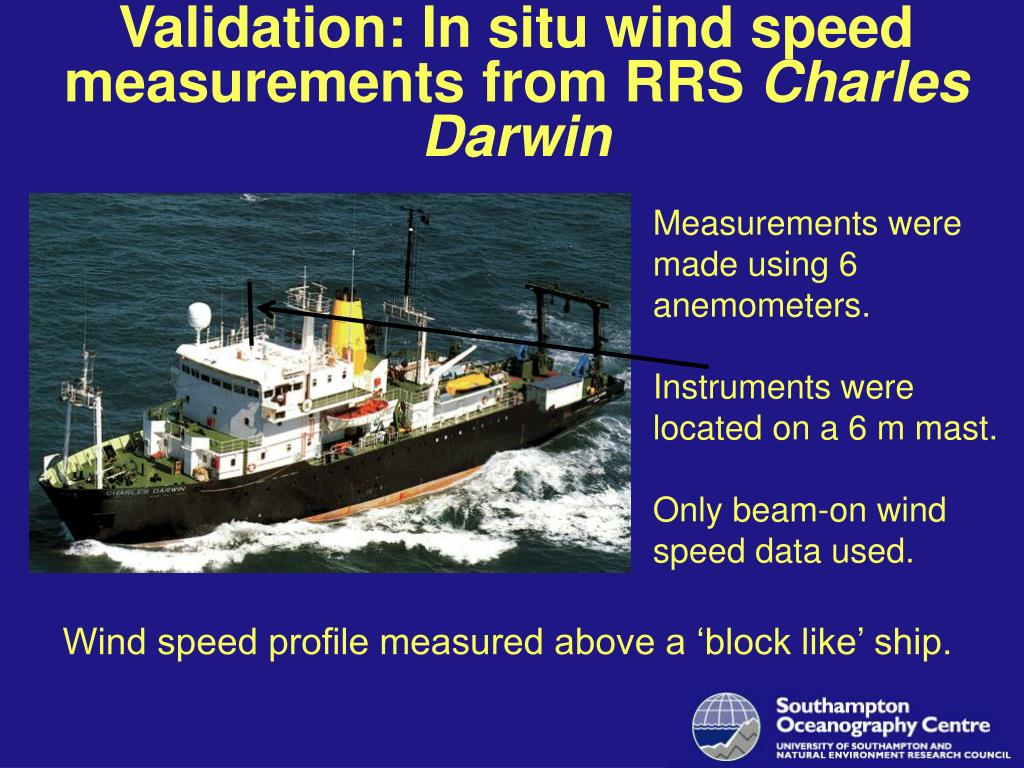 Validation: In situ wind speed measurements from RRS