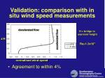 validation comparison with in situ wind speed measurements