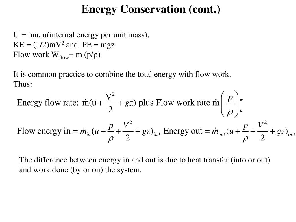Energy Conservation (cont.)