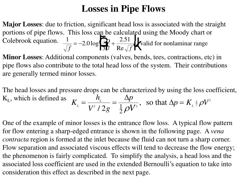 Losses in Pipe Flows