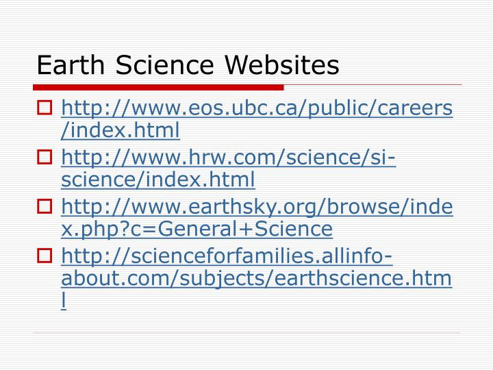 Earth Science Websites