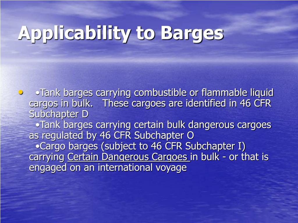 Applicability to Barges