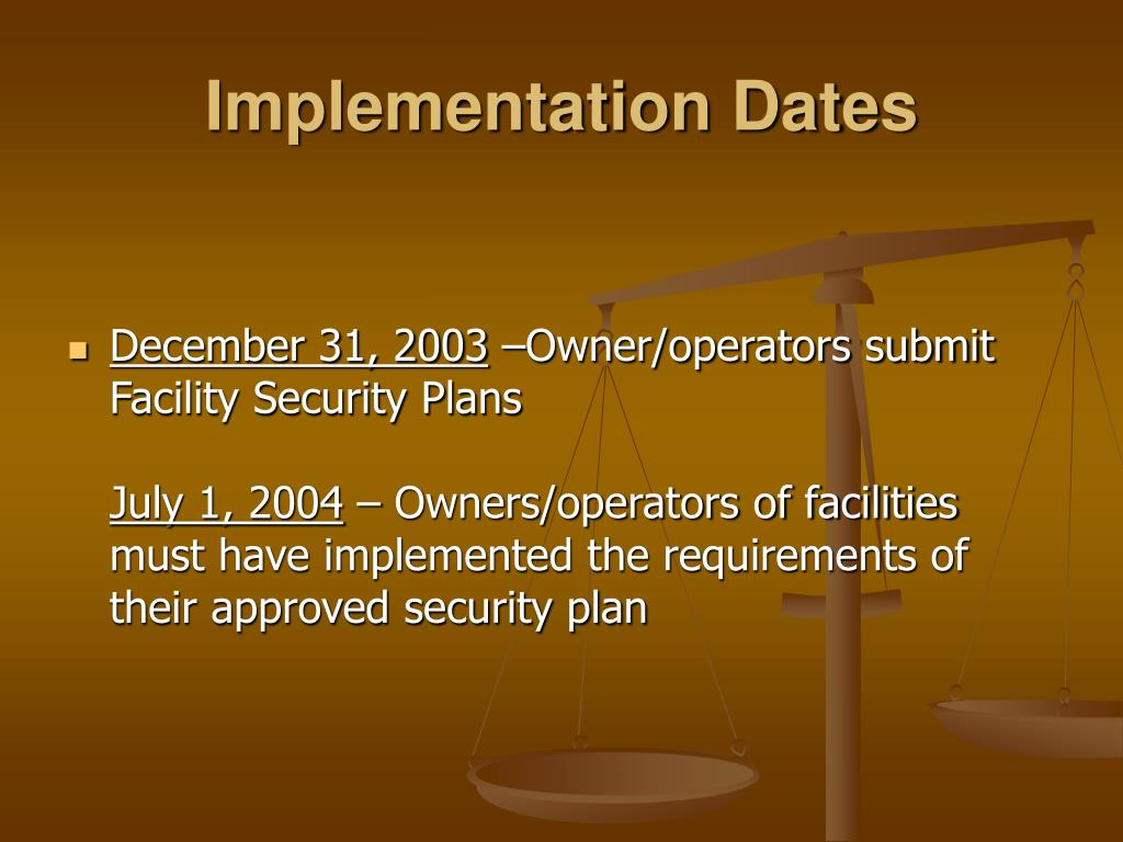 Implementation Dates