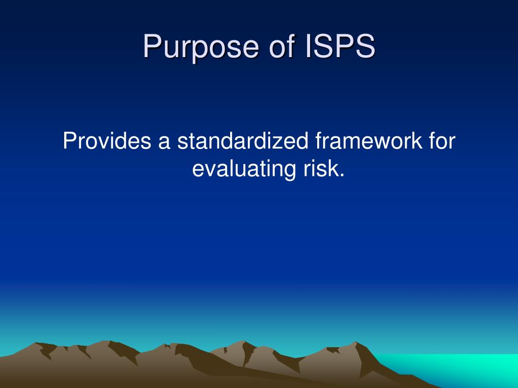 Purpose of ISPS