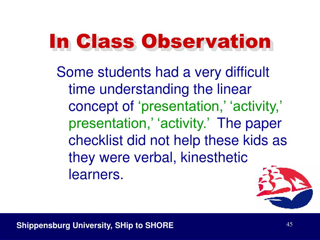 In Class Observation