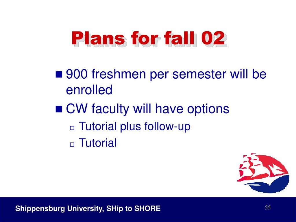 Plans for fall 02