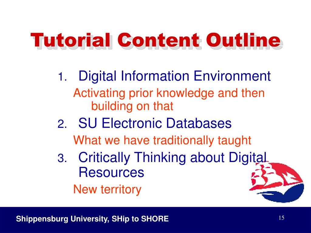 Tutorial Content Outline