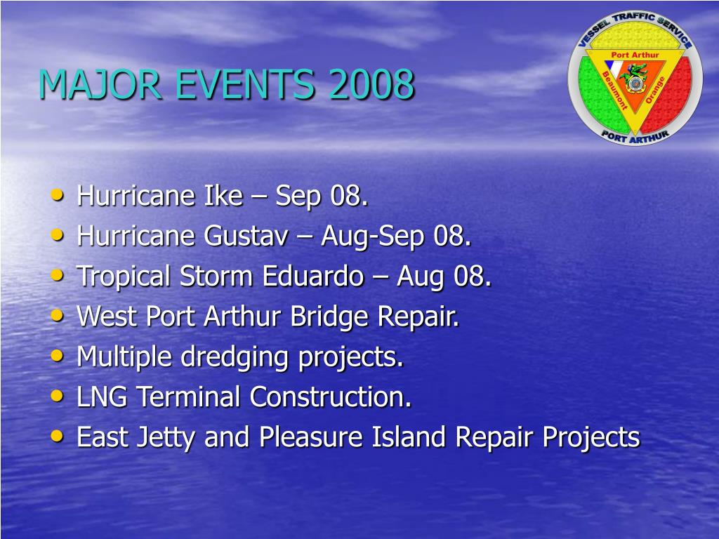 MAJOR EVENTS 2008
