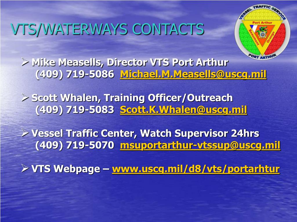VTS/WATERWAYS CONTACTS