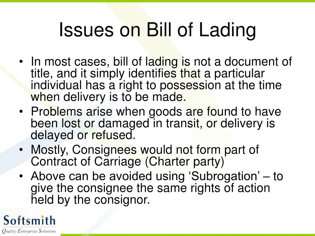 Issues on Bill of Lading