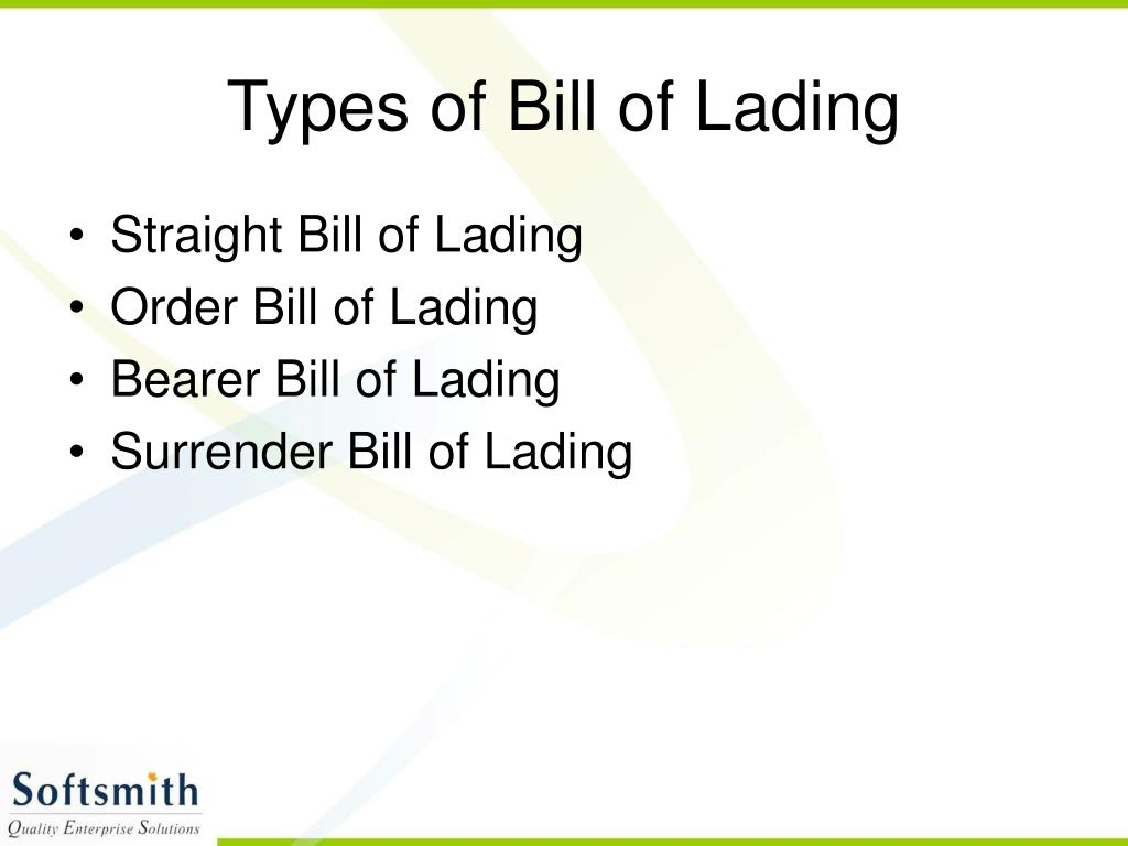 Types of Bill of Lading