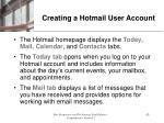 creating a hotmail user account