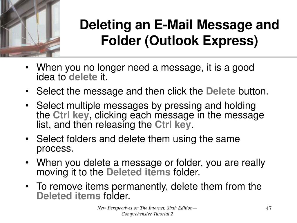 Deleting an E-Mail Message and Folder (Outlook Express)