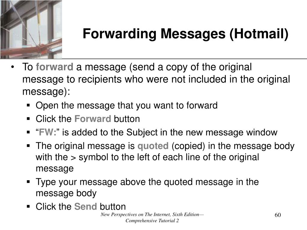 Forwarding Messages (Hotmail)