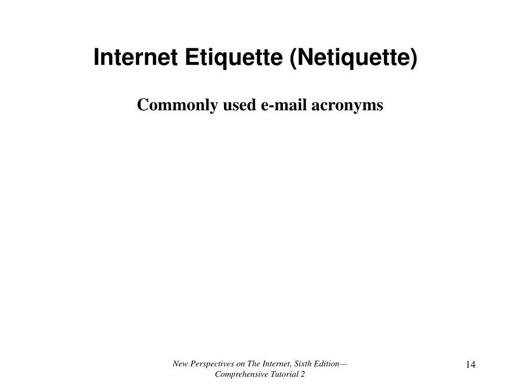 Internet Etiquette (Netiquette)