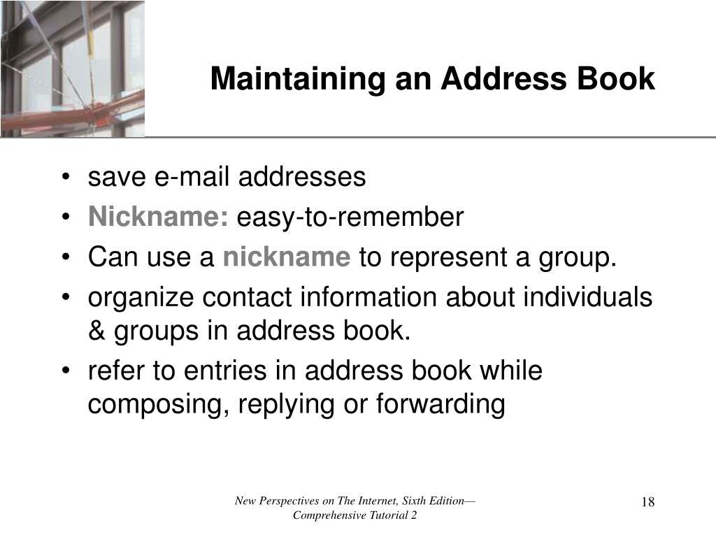 Maintaining an Address Book
