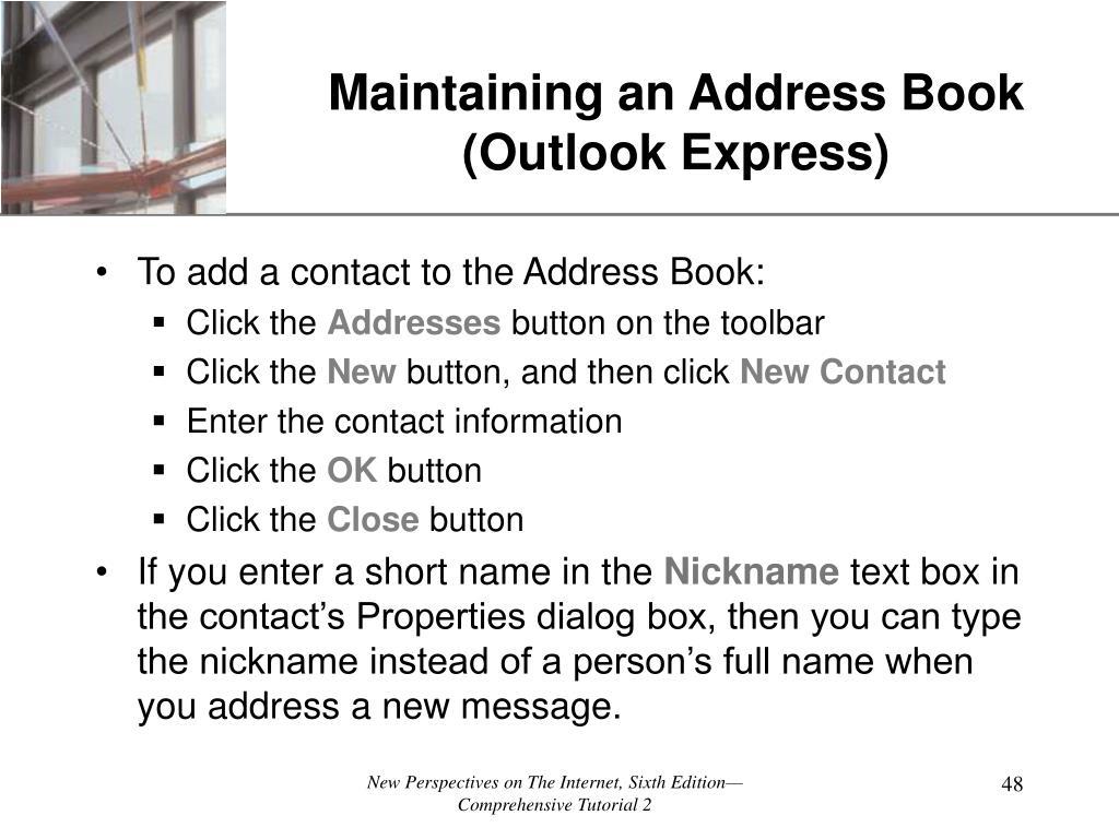 Maintaining an Address Book  (Outlook Express)
