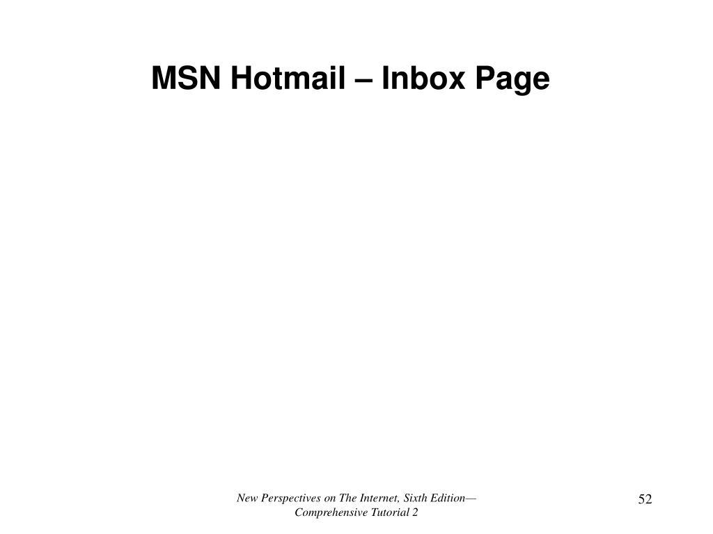 MSN Hotmail – Inbox Page