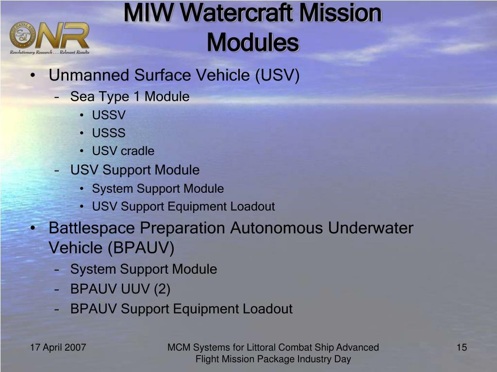 MIW Watercraft Mission Modules