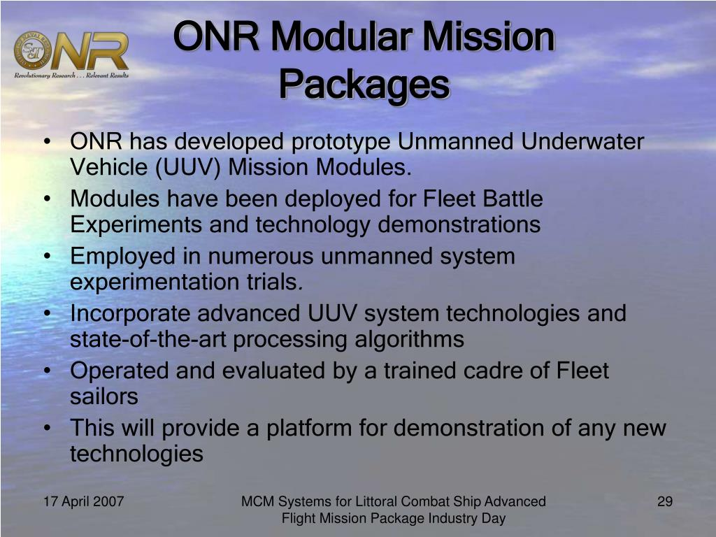 ONR Modular Mission Packages